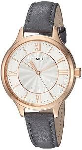 timex peyton grey leather band watch