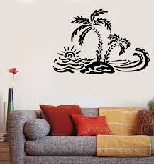 Vinyl Decal Wall Sticker Summer Palm Island Ocean Waves Beach House De Wallstickers4you