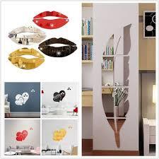 Wish 3d Lip Mirror Stickers Acrylic Mirror Wall Sticker Home Background Art Pattern Decor Decal Wall Stickers Home Decor Mirror Stickers