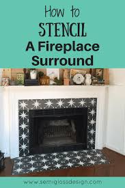 paint fireplace tile using a stencil