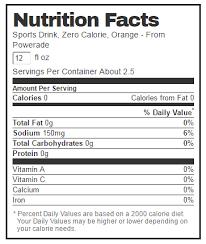 powerade zero nutrition label