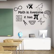 Math Wall Decal Math Is Awesome It Has Pi Classroom Wall Vinyl Sticker Math Teacher Gift Mathematics Decal Sk46 Wall Stickers Aliexpress