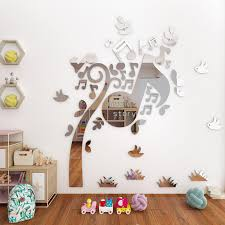 Fashion Musical Note Wall Art Mirror Stickers Kids Bedroom Diy Decoration