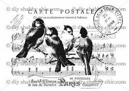 Furniture Decal Image Transfer Vintage Shabby Chic Antique Bird Postcard Upcycle Ebay
