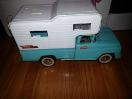 Vintage 1960s Rare Tonka Teal Blue Pick Up Camper With Decals Missing Some Camper Windows With Wear Paint Loss Scratches Camper Windows Tonka Truck Toy Trucks