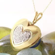 diamond 14k solid yellow gold heart