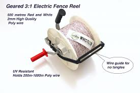 Electric 3 1 Geared Fence Reel With 500m Red And White 2mm Poly Wire Whistler Farm Supplies