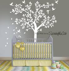 White Tree Wall Decal Tree Wall Decal Nursery Tree Decals Etsy