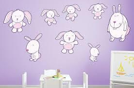 Pink Bunny Wall Decal Sticker Set Wall Decal Wallmonkeys Com