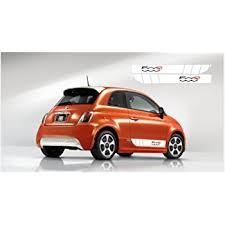 Amazon Com Snstyling Com Fiat 500 Side Decal L R Set White Black Orange 500e Automotive