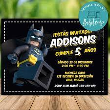 Invitacion De Fiesta De Lego Batman Editable Descarga Instantanea