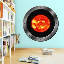 Vwaq Sun Window Clings Space Star Wall Decal Solar System For Kids
