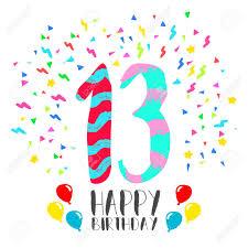 Numero 13 Del Feliz Cumpleanos Tarjeta De Felicitacion Durante