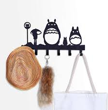 Amazon Com Coolplus Coat Hooks Wall Mounted Entryway Dog Leash And Key Holder Clothes Hat Rack And Backpack Hanger Kids Room Decor Totoro Pattern Sweet Black Home Kitchen