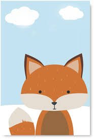 Awkward Styles Fox Framed Picture Fox Poster Wall Art For Kids Cute Animals Wall Art Baby Room Decor Fox Decals Picture For Girls Boys Room Decor Stretched Canvas Artwork For Home Fox