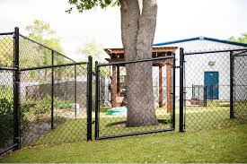 Chain Link Fence Black Vinyl Coated Residential Racked Gate Superior Fence Rail Inc