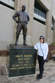 Daughter with Knute Rockne statue by the Rockne north gate. - Picture of  University of Notre Dame, South Bend - Tripadvisor