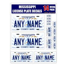 Personalized Mississippi License Plate Decals Stickers Version 2