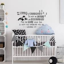 Joshua 1 9 Be Strong And Courageous Wall Decal Boys Wall Sticker Forest Nursery Decor Explorer Arrows Mountains Decaks G269 Wall Stickers Aliexpress