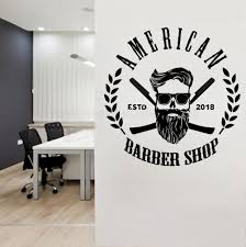 Personalized City Year Barber Shop Logo Wall Window Decal Art Man Salon Haircut Beard Face Tools Wall Decor Poster Y152 Wall Stickers Aliexpress