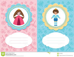 Baby Cards With Prince And Princess Stock Vector Illustration Of