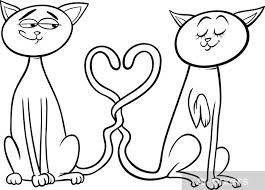 Fotobehang Katten In Liefde Cartoon Kleurplaat Pixers We