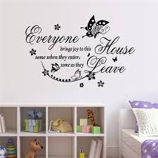 Everyone Bring Joy To This Home Wall Stickers Butterfly Flower 8455 Creative Quotes Decal Art Bedroom Decoration Bedroom Decor Sticker Butterflywall Stickers Butterfly Aliexpress