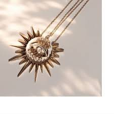 yellow gold king sun necklace jewelry