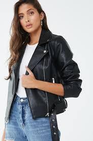 women s faux leather belted moto jacket