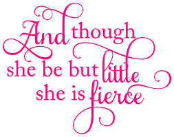 And Though She Be But Little She Is Fierce 12 X 9 Vinyl Decal Sticker Minglewood Trading