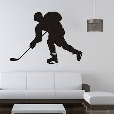Sportsman Playing Hockey Wall Stickers Removable Funny Wall Decals Children Boys Room Decoration Wish