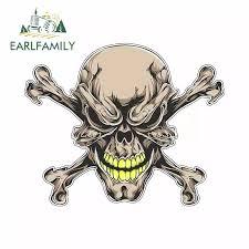 Earlfamily 13cm X 10 6cm For Skull Gold Teeth Scary Cross Bones Funny Car Stickers Vinyl Sunscreen Rv Van Fine Decal Jdm Car Stickers Aliexpress