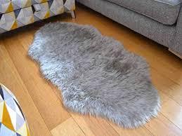 silver grey faux fur style rug