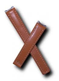 tan genuine leather watch strap with
