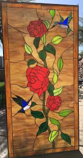 red roses leaded stained glass window panel