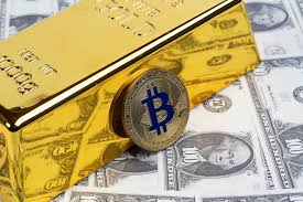 Golden Bitcoin with gold bar and money | ✅ Marco Verch is a ...