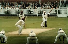 Kapil Dev bowling to Gordon Greenidge. Both