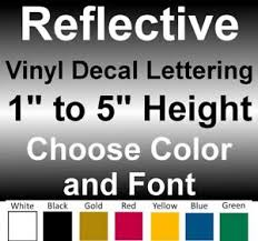 1 To 5 Inch Custom Reflective Vinyl Decals Text Lettering Numbers Stickers Sign Ebay