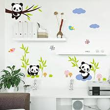 Amaonm Hot Fashion Nursery Room Decor Removable Diy 3d Panda Bamboo Birds Flying Butterfly Wall Decals Kids Room Decorations Wall Stickers Murals Peel Stick Girls For Bedroom Classroom Panda Things