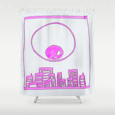 eye over city pink shower curtain by