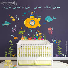 Submarine Wall Decal Under The Sea Monkey And Fishes Ocean Sea Life Wall Decor Ebay