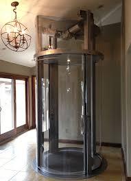 glass elevator upper landing with motor