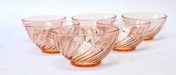 vintage pink depression glass fruit