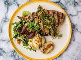 Grilled Tuna Steak with Stuffed Mushrooms