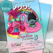 Invitacion De Cumpleanos De Trolls Pool Party Editable Descarga