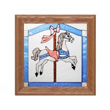 carousel horse stained glass panel