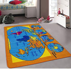 Amazon Com Champion Rugs Kids Daycare Classroom Playroom Area Rug World Map Continents Oceans Hemispheres Compass Educational Non Slip Back Bright Colorful Vibrant Colors 5 Feet X 7 Feet Toys Games