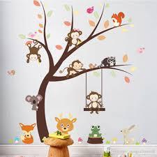 Cartoon Monkey Koala Squirrel Birds Playing On Tree Wall Stickers Kids Room Nursery Decor Wall Decals Poster Art Rabbit Giraffe Grass Mural Large Wall Decals Large Wall Decals Cheap From Magicforwall 9 71