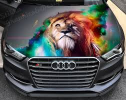 Vinyl Car Hood Wrap Full Color Graphics Decal Lion Abstract Sticker Ebay