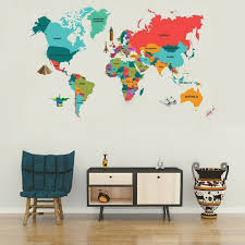 Great Colorful World Map Kids Room Decor Wall Sticker Wall Decals Nursery Decor For Sale Online Ebay